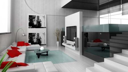 серый ламинат в интерьере в стиле хай-тек