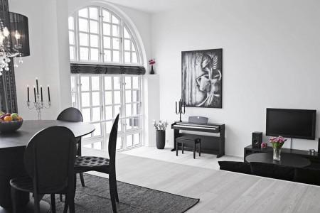 Серый пол в черно-белом интерьере