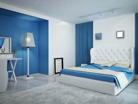 Серый пол в комнате в голубых тонах