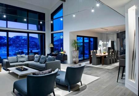 Серый пол в интерьере в стиле модерн