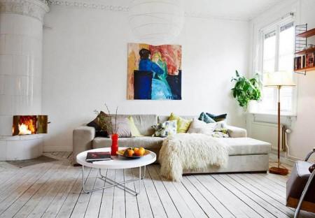 Серый пол в интерьере в скандинавском стиле