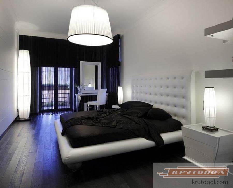 Интерьеры черно-белые спальни фото