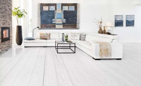 Белый деревянный пол в интерьере (фото)